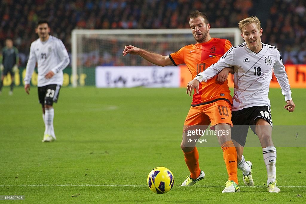 Rafael van der Vaart of Holland, Lewis Holtby of Germany during the Friendly match between Holland and Germany at the Amsterdam Arena on November 14, 2012 in Amsterdam, The Netherlands.