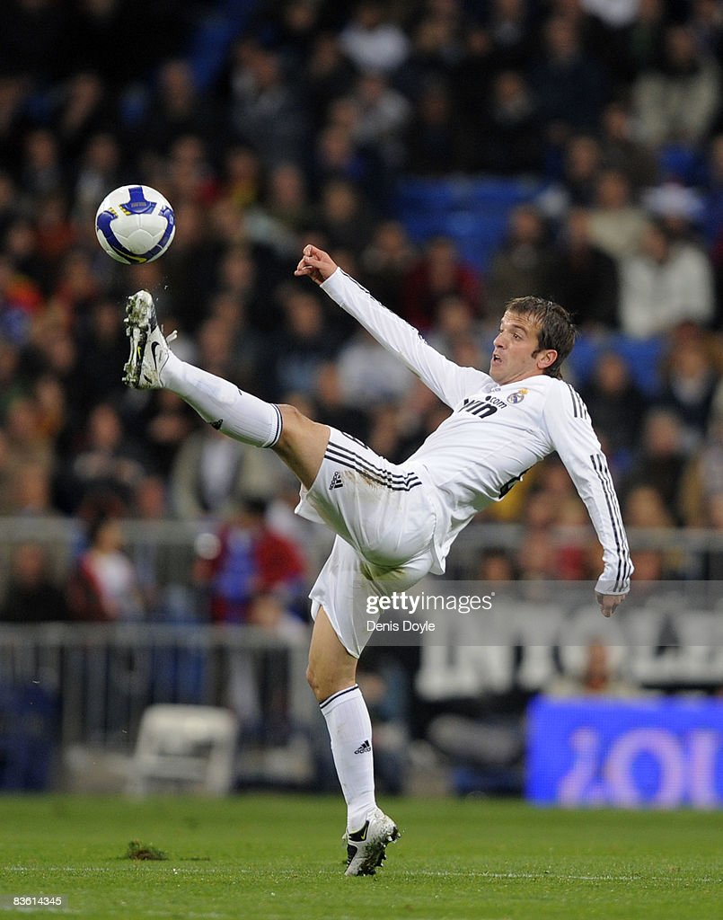 Rafael van der Vaart of Real Madrid in action during the La Liga match between Real Madrid and Malaga at the Santiago Bernabeu stadium on November 8...