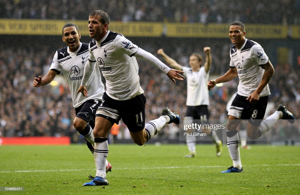 Rafael Van der Vaart of Spurs celebrates scoring their second goal during the Barclays Premier League match between Tottenham Hotspur and Aston Villa at White Hart Lane on October 2, 2010 in London, England.