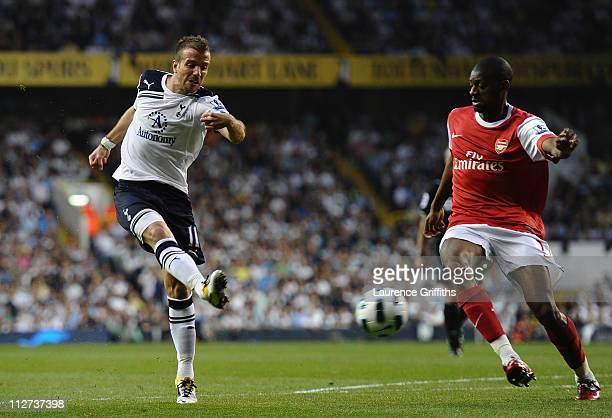 Rafael Van der Vaart of Spurs scores their first goal during the Barclays Premier League match between Tottenham Hotspur and Arsenal at White Hart...
