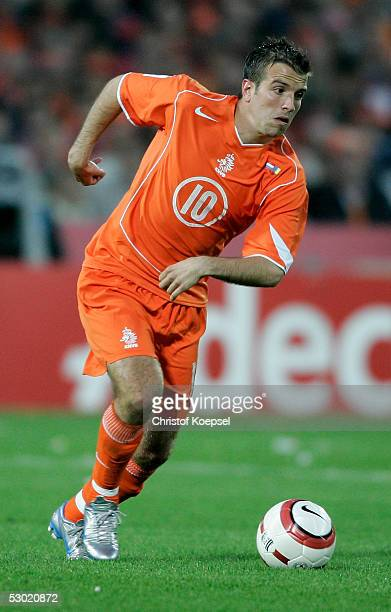 Rafael van der Vaart of the Netherlands runs with the ball during the World Cup Qualification match between Netherlands and Romania on June 4 2005 in...