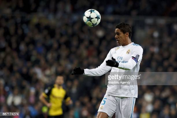 Rafael Varane of Real Madrid in action during the UEFA Champions League group H match between Real Madrid and Borussia Dortmund at Santiago Bernabeu...