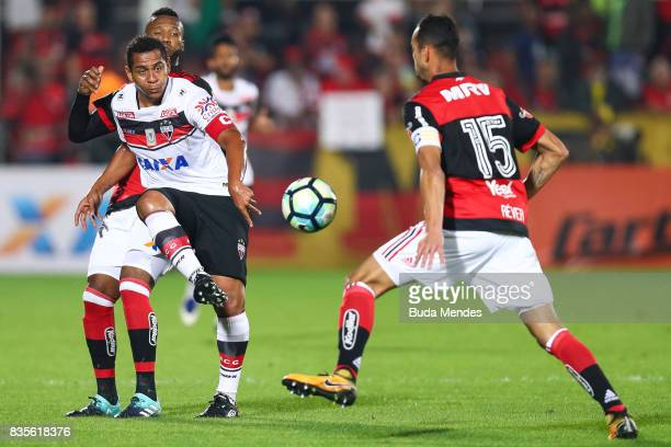 Rafael Vaz and Rever of Flamengo struggles for the ball with Walter of Atletico GO during a match between Flamengo and Atletico GO part of...