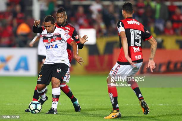 Rafael Vaz of Flamengo struggles for the ball with Walter of Atletico GO during a match between Flamengo and Atletico GO part of Brasileirao Series A...
