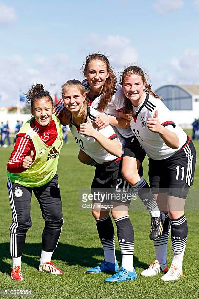 Rafaela Borggrafe Klara Buhl Gina Chmielinski and Lisa Ebert of Germany have a pose celebration of vitory at the end of the match of the U16 Girl's...