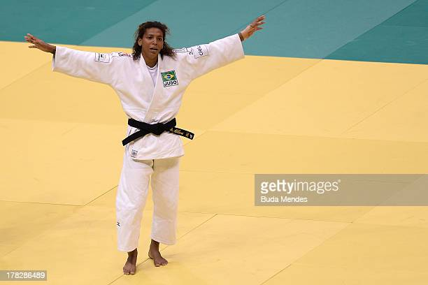 Rafaela Silva of Brazil celebrate the victory and a gold medal in the 57 kg women category during a World Judo Championships at Gymnasium...
