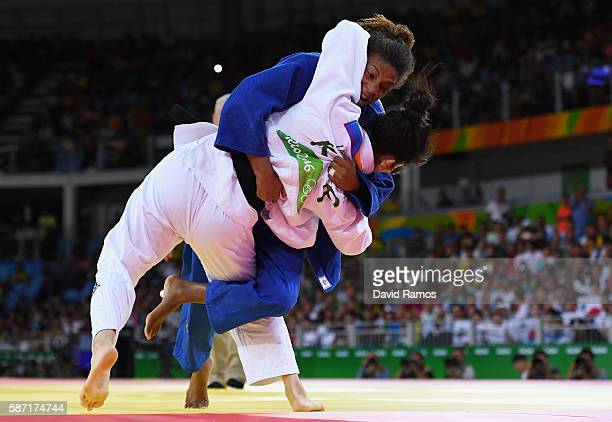 Rafaela Silva of Brazil competes against Jandi Kim of Korea in the Women's 57 kg Judo elimination round on Day 3 of the Rio 2016 Olympic Games at...