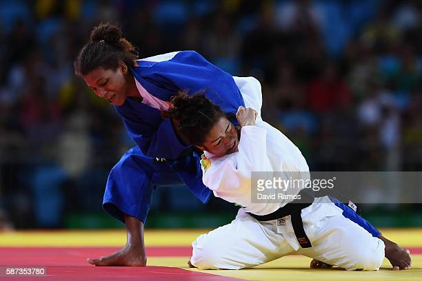 Rafaela Silva of Brazil competes against Sumiya Dorjsuren of Mongolia in the Women's 57 kg Final Gold Medal Contest on Day 3 of the Rio 2016 Olympic...
