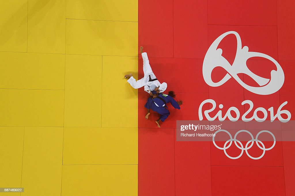 Rafaela Silva of Brazil (blue) competes against Sumiya Dorjsuren of Mongolia in the Women's -57 kg Final - Gold Medal Contest on Day 3 of the Rio 2016 Olympic Games at Carioca Arena 2 on August 8, 2016 in Rio de Janeiro, Brazil.