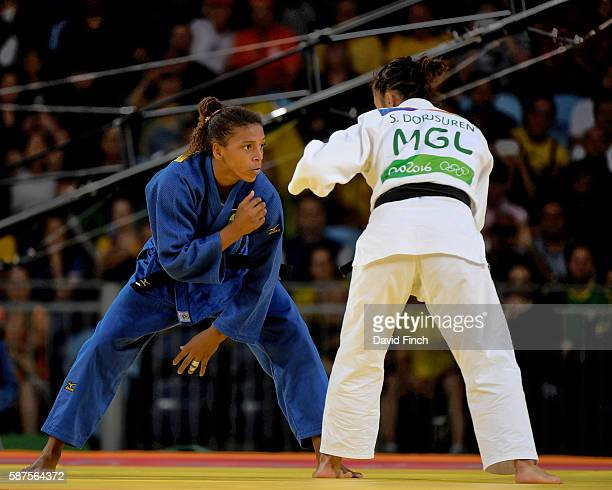 Rafaela Silva of Brazil defeated Sumiya Dorjsuren of Mongolia to win the u57kg gold medal during day 3 of the 2016 Rio Olympic Judo on Monday August...
