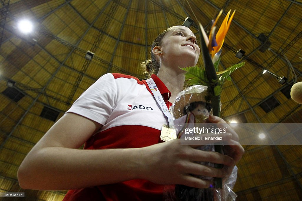 Rafaella Camet of Peru talks with the media after the end game between Peru and Venezuela in women's volleyball as part of the XVII Bolivarian Games Trujillo 2013 at Coliseo gran Chimu on November 29, 2013 in Trujillo, Peru.