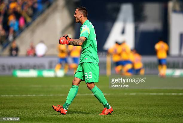 Rafal Gikiewicz goalkeeper of Braunschweig celebrates the opening goal during the Second Bundesliga match between Eintracht Braunschweig and 1 FC...