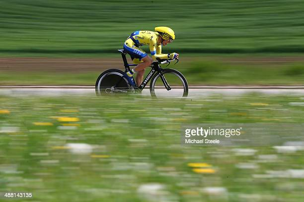 Rafal Majka of Poland and TinkoffSaxo during stage five of the Tour de Romandie 185km individual time trial from Neuchatel to Neuchatel on May 4 2014...