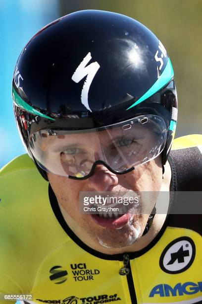 Rafal Majka of Poland riding for BoraHansgrohe in the AMGEN Race Leader jersey finishes stage five of the AMGEN Tour of California from Ontario to Mt...