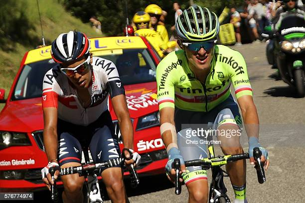 Rafal Majka of Poland riding for Tinkoff and Jarlinson Pantano of Colombia riding for IAM Cycling ride in the breakaway during stage fifteen of the...