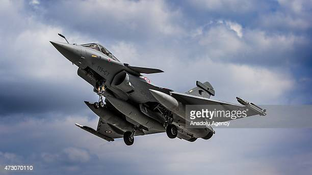 Rafale plane belonging to the French Air Forces is seen in the sky during the NATO Tiger Meet 2015 drill press tour at the Konya 3rd Main Jet Base...