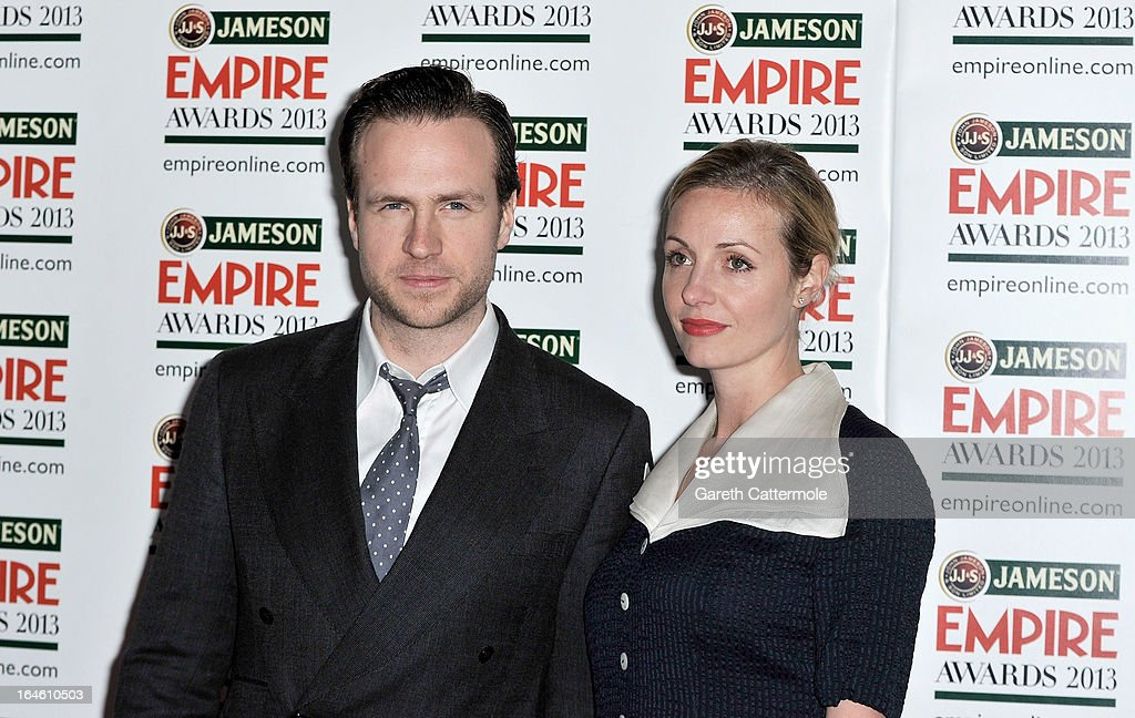 <a gi-track='captionPersonalityLinkClicked' href=/galleries/search?phrase=Rafe+Spall&family=editorial&specificpeople=2153488 ng-click='$event.stopPropagation()'>Rafe Spall</a> and <a gi-track='captionPersonalityLinkClicked' href=/galleries/search?phrase=Elize+du+Toit&family=editorial&specificpeople=210544 ng-click='$event.stopPropagation()'>Elize du Toit</a> are pictured arriving at the Jameson Empire Awards at Grosvenor House on March 24, 2013 in London, England.