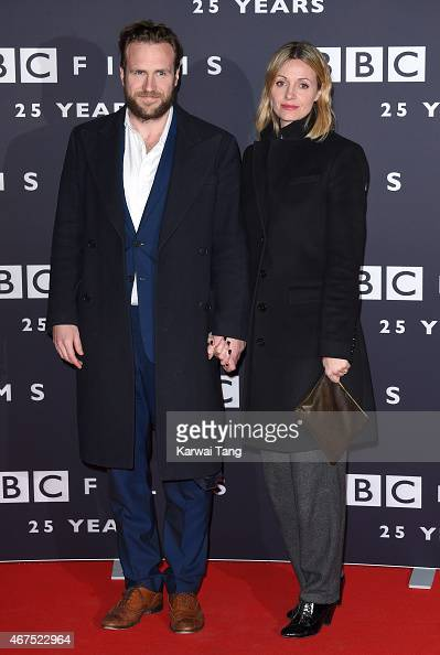 Rafe Spall and Elize du Toit attend the BBC Films' 25th Anniversary Reception at BBC Broadcasting House on March 25 2015 in London England