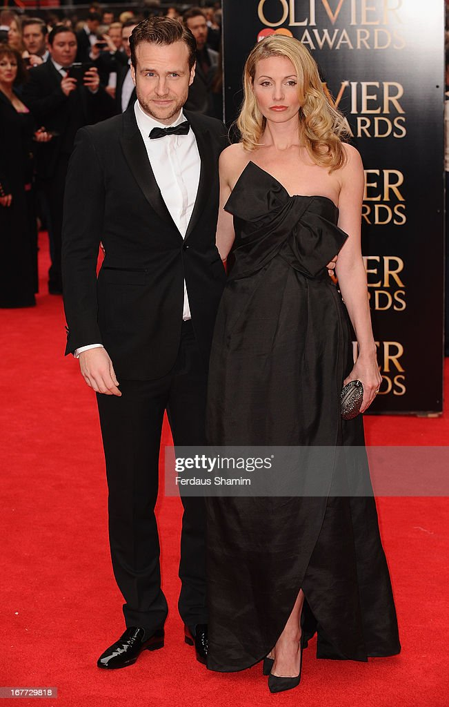 Rafe Spall and Elize du Toit attend The Laurence Olivier Awards at The Royal Opera House on April 28, 2013 sLondon, England.