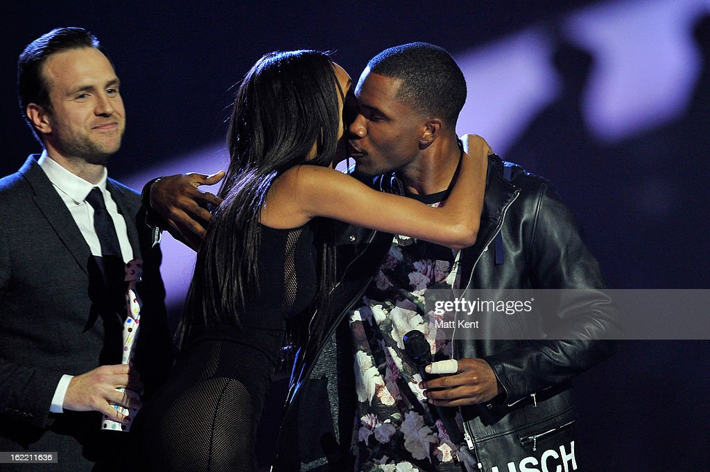 Rafe Spall and Jourdan Dunn present Frank Ocean with the award for International Male Solo Artist on stage during the Brit Awards 2013 at the 02 Arena on February 20, 2013 in London, England.