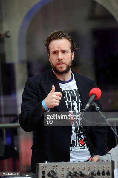 Rafe Spall at The BBC for Dermot O'Leary's dance marathon in aid of Comic Relief on March 13 2015 in London England