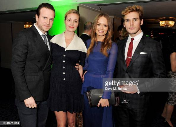 Rafe Spall Elize du Toit Laura Haddock and Sam Claflin arrive at the Jameson Empire Awards 2013 at The Grosvenor House Hotel on March 24 2013 in...