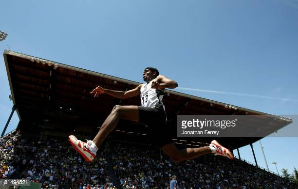 Rafeeq Curry of the United States lepas in the triple jump competion during the Prefontaine Classic on June 8 2008 at Hayward Field in Eugene Oregon