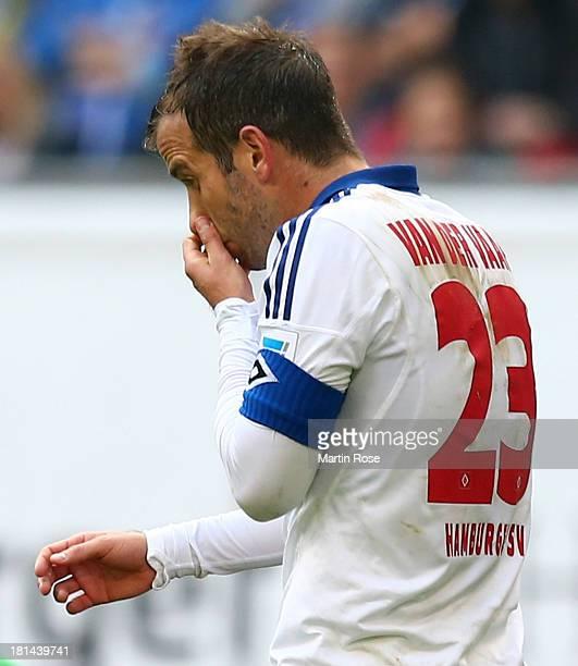 Rafel van der Vaart of Hamburg looks dejected during the Bundesliga match between Hamburger SV and Werder Bremen at Imtech Arena on September 21 2013...