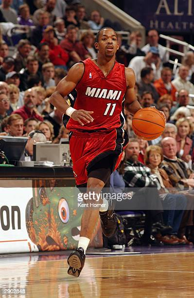 Rafer Alston of the Miami Heat brings the ball upcourt during the game against the Utah Jazz at Delta Center on January 15 2004 in Salt Lake City...
