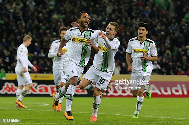 Raffael and Thorgan Hazard of Borussia Moenchengladbach celebrate after their second goal during the Bundesliga match between Borussia...