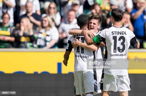 Raffael Jonas Hofmann and Lars Stindl of Borussia Moenchengladbach celebrate after their teams second goal during the Bundesliga Match between...