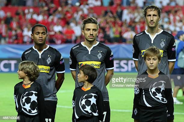 Raffael Julian Korb and Roel Brouwers of Borussia Moenchengladbach before the UEFA Champions League match between FC Sevilla and Borussia...