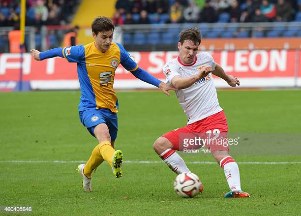 Raffael Korte of Eintracht Braunschweig and Michael Parensen of 1 FC Union Berlin in action during the game between Eintracht Braunschweig and Union...