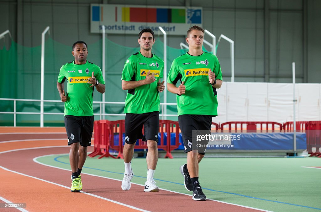 Raffael, Lars Stindl and Nils Ruetten of Borussia Moenchengladbach run during a Lactate Test in Duesseldorf on June 28, 2016 in Moenchengladbach, Germany.