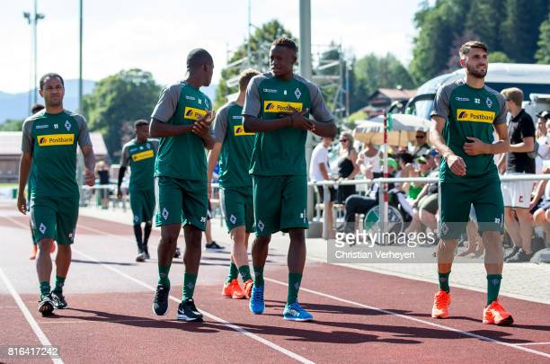 Raffael Mamadou Doucoure Denis Zakaria and Vincenzo Grifo of Borussia Moenchengladbach during a training session at the Training Camp of Borussia...