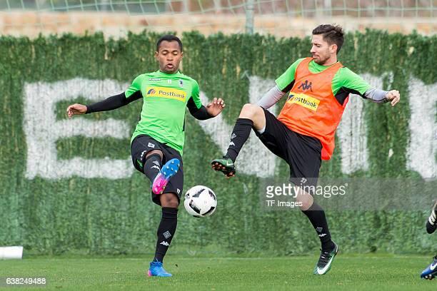 Raffael of Borussia Moenchengladbach and Julian Korb of Borussia Moenchengladbach battle for the ball during a Training Session at Borussia...