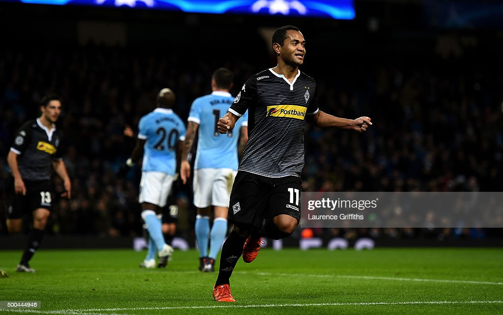 Raffael of Borussia Moenchengladbach celebrates scoring his side's second goal during the UEFA Champions League Group D match between Manchester City and Borussia Monchengladbach at Etihad Stadium on December 8, 2015 in Manchester, United Kingdom.