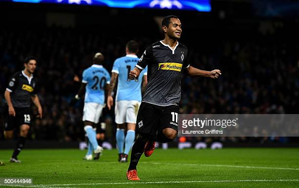Raffael of Borussia Moenchengladbach celebrates scoring his side's second goal during the UEFA Champions League Group D match between Manchester City...