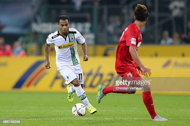 Raffael of Borussia Moenchengladbach controls the ball during the Bundesliga match between Borussia Moenchengladbach and FC Augsburg at BorussiaPark...