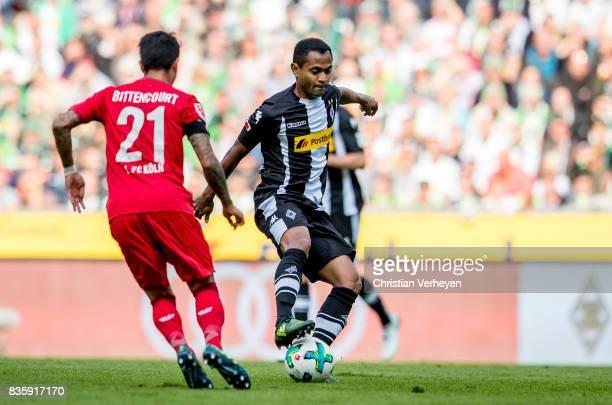 Raffael of Borussia Moenchengladbach controls the ball during the Bundesliga match between Borussia Moenchengladbach and 1 FC Koeln at BorussiaPark...