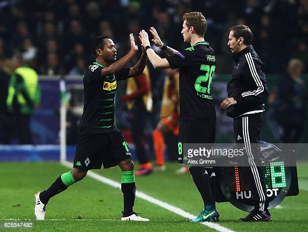 Raffael of Borussia Moenchengladbach is replaced by Andre Hahn during the UEFA Champions League match between VfL Borussia Moenchengladbach and...