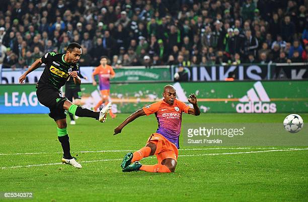 Raffael of Borussia Moenchengladbach scores the first goal during the UEFA Champions League match between VfL Borussia Moenchengladbach and...