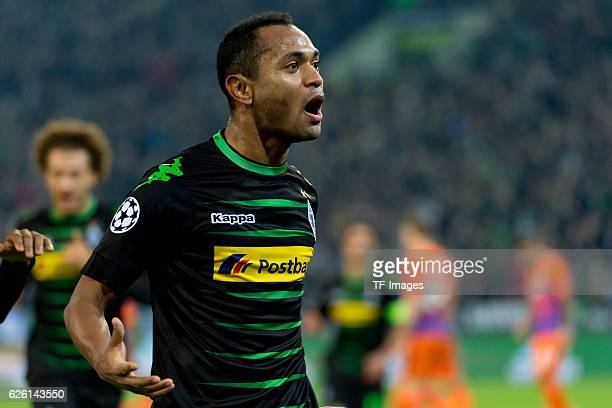 Raffael of Gladbach celebrates after scoring during the UEFA Champions League match between VfL Borussia Moenchengladbach and Manchester City FC at...