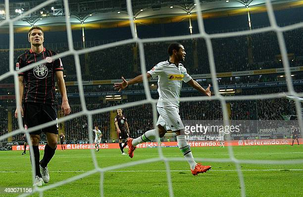 Raffael of Gladbach celebrates after scoring his team's first goal during the Bundesliga match between Eintracht Frankfurt and Borussia...