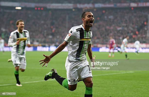 Raffael of Gladbach celebrates after scoring his team's second goal during the Bundesliga match between FC Bayern Muenchen and Borussia...
