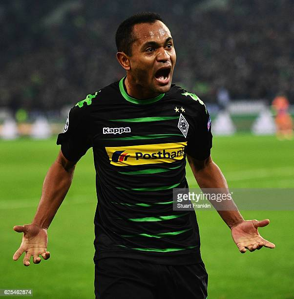 Raffael of Gladbach celebrates scoring his goal during the UEFA Champions League match between VfL Borussia Moenchengladbach and Manchester City FC...