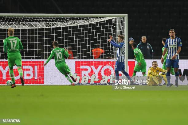 Raffael of Moenchengladbach 4th right celebrates after he scored a goal to make it 24 during the Bundesliga match between Hertha BSC and Borussia...