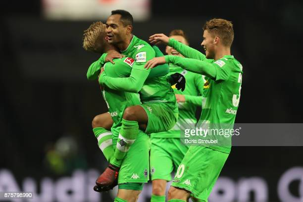 Raffael of Moenchengladbach celebrates after he scored a goal to make it 30 during the Bundesliga match between Hertha BSC and Borussia...
