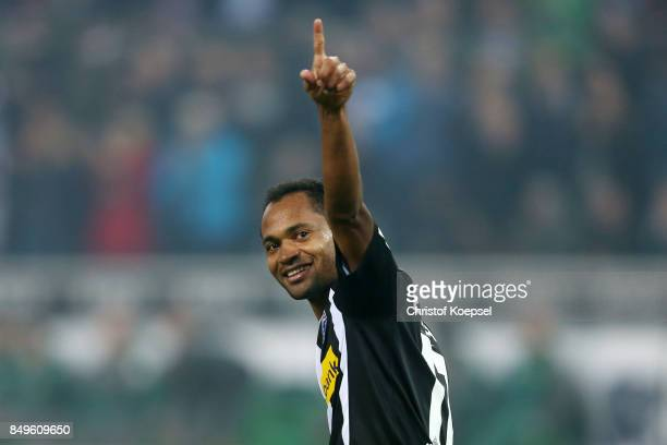 Raffael of Moenchengladbach celebrates after he scored a penalty goal to make it 20 during the Bundesliga match between Borussia Moenchengladbach and...