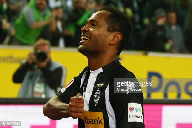 Raffael of Moenchengladbach celebrates after he scored his teams first goal to make it 10 during the Bundesliga match between Borussia...